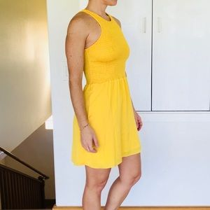 DV by Dolce Vita yellow mini dress rouched small